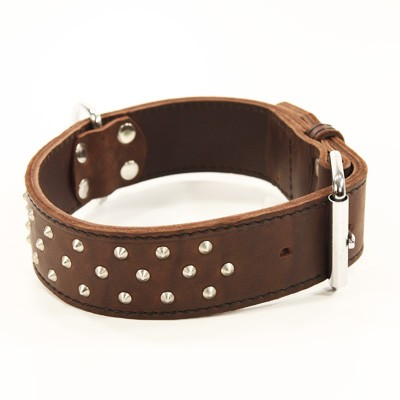 Hochwertiges Nieten-Halsband in braunem Leder von Klin Kassel