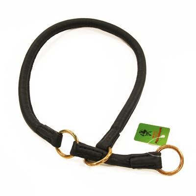 Rundes Stopp-Rundwürger Halsband aus schwarzem Nappa-Leder