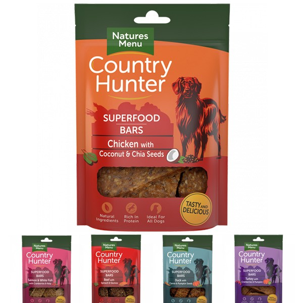 Köstliche Country Hunter Superfood Bars Leckerlie-Riegel von Natures Menu
