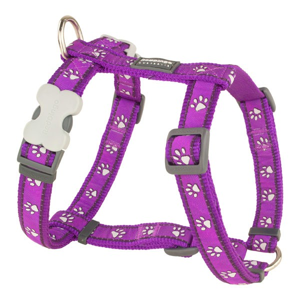 Lila Hundegeschirr Pawprints Purple. Von Red Dingo