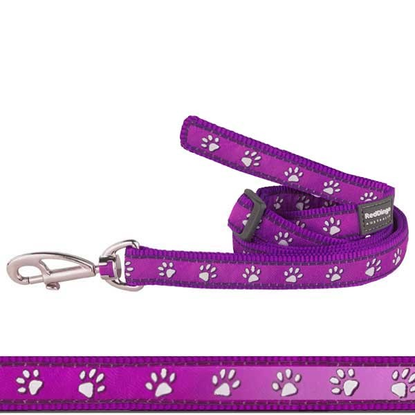 Lila Hundeleine Pawprints Purple von Red Dingo