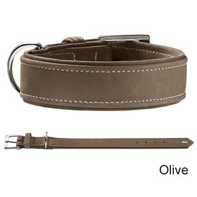 Hunter Hunting Halsband Olive aus softem Nubuk-Leder