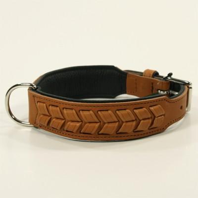Hellbraunes Leder-Halsband El Paso im Flecht-Design von Hunter