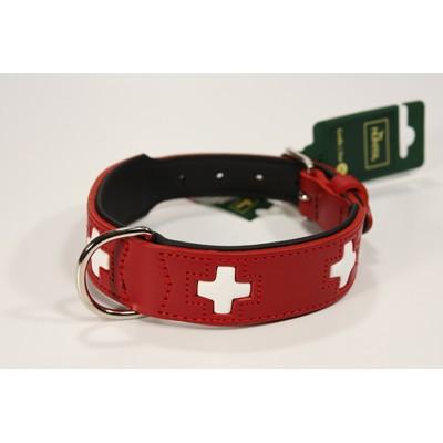Hundehalsband Swiss Design in rotem Leder von Hunter