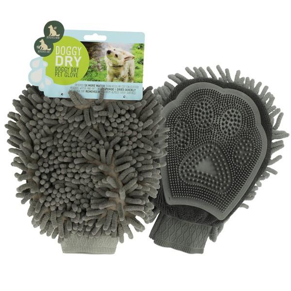 Doggy Dry Pet Glove Mikrofaser- und Noppen-Handschuh von Holland Animal Care