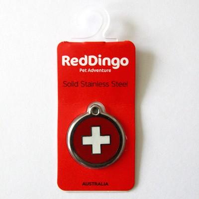 Rostfreier Hundeanhänger mit Schweizer Kreuz von Red Dingo