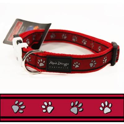 Rotes Pfötchen-Hundehalsband Pawprints Red von Red Dingo