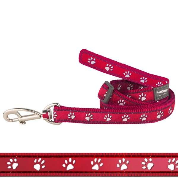 Hundeleine Pawprints Red von Red Dingo