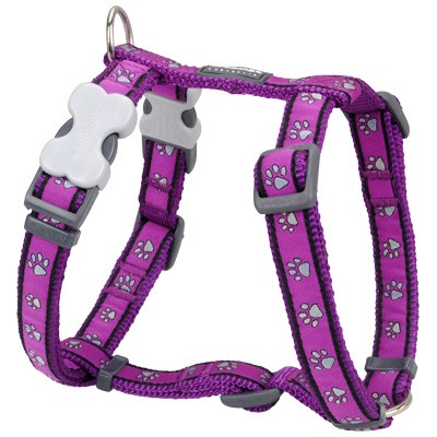 Lila Hundegeschirr Pawprints Purple. Von Red Dingo