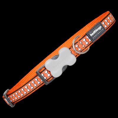 Red Dingo Halsband Orange mit reflektierenden Knochen
