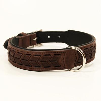 Dunkelbraunes Leder-Halsband El Paso im Flecht-Design von Hunter