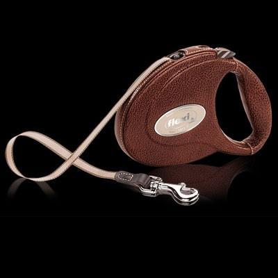 Luxuriöse Flexi-Leine mit handmade Überzug aus echtem Leder